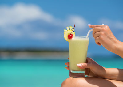 cocktail on the beach. Concept of luxury vacation.